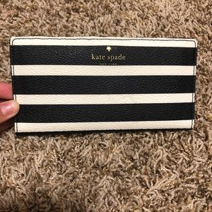 striped black and white kate spade wallet